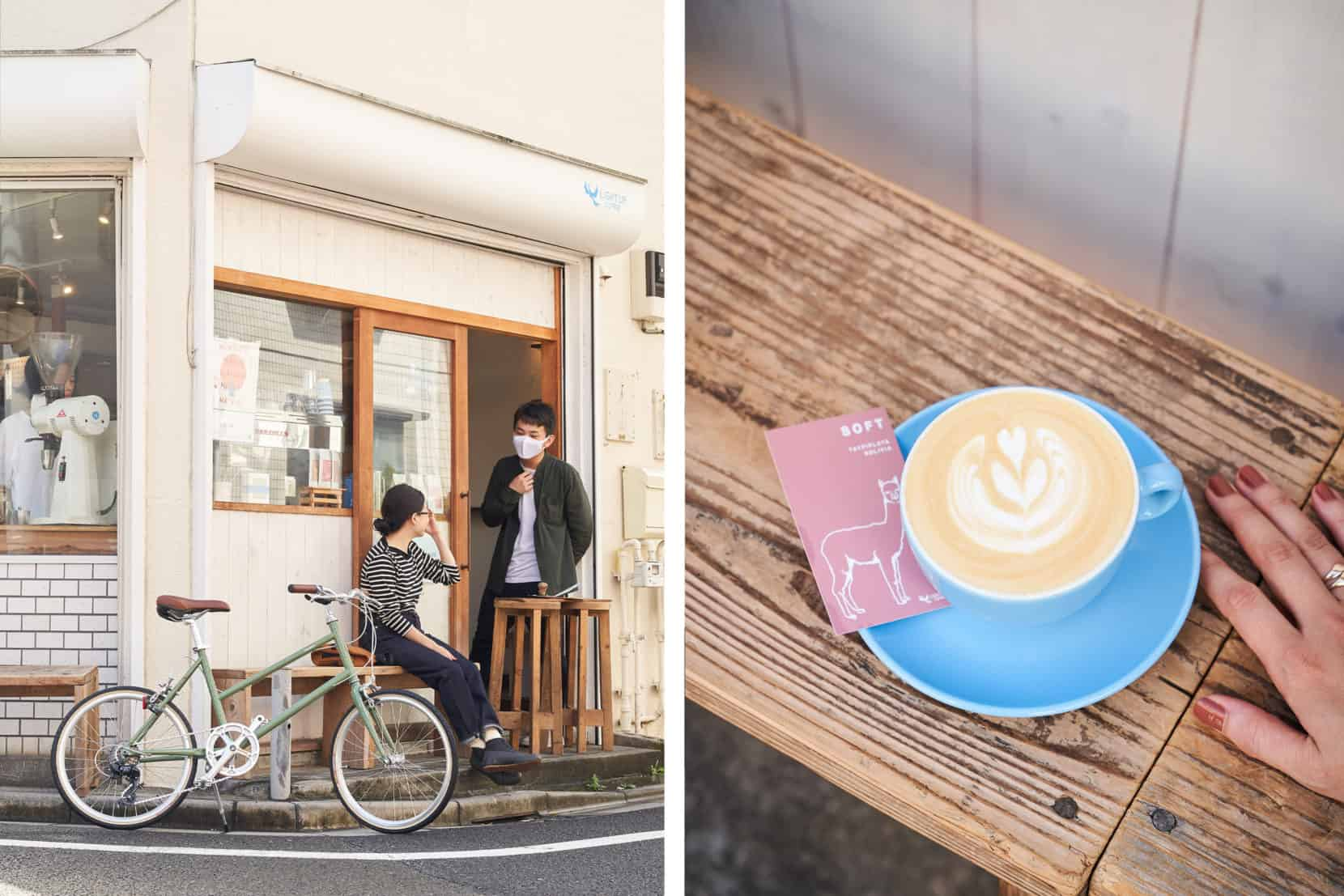 TOKYOBIKE CALIN LIMITED ARTICHOKEとコーヒーを飲む女性